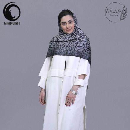 روسری ابریشم  مامی فرفورژه سفید مشکی گیسپوش