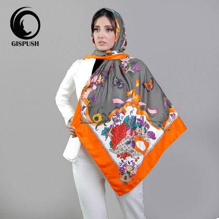 روسری ابریشم هرمس طوسی نارنجی گیسپوش
