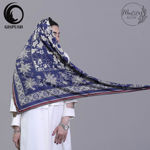 Picture of silver flower mami silk scarf