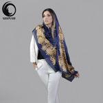 شال ابریشم شنل سرمه ای طلایی گیسپوش
