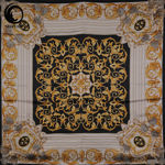 روسری ابریشم منگوله دار مشکی طلایی گیسپوش