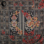روسری ابریشم دورحاشیه گلدار مشکی گیسپوش