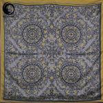 روسری ابریشم مامی فیروزه رنگ طوسی گیسپوش