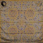 روسری ابریشم مامی فیروزه رنگ زرد گیسپوش