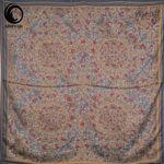 روسری ابریشم مامی فیروزه رنگ گلبه ای گیسپوش