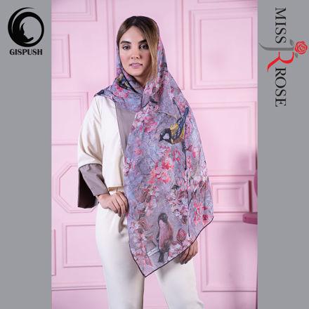 روسری کرپ حریر برند میس رز بهار شیرازطوسی صورتی در گیسپوش