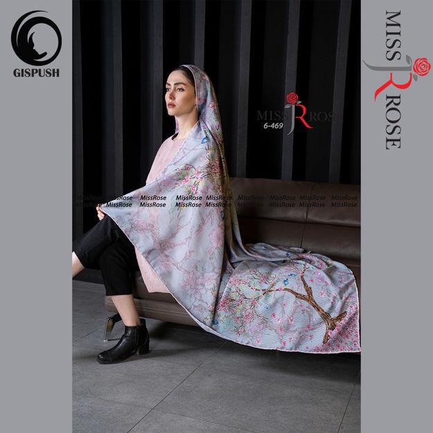 روسری نخی طوسی صورتی گلدار شاخه نبات میس رز در گیسپوش