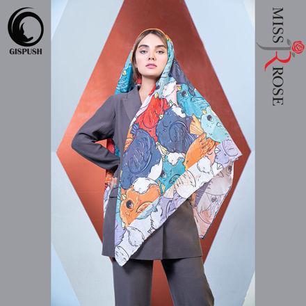 روسری نخی قواره بزرگ رنگی طرح پرنده برند میس رز در گیسپوش