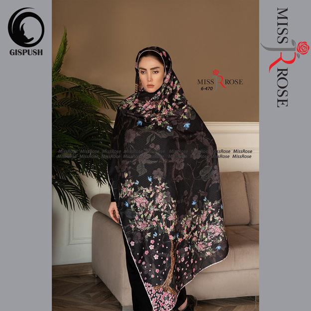 روسری ابریشم مامی زمینه مشکی طرح دار اقاقیا برند میس رز در گیسپوش
