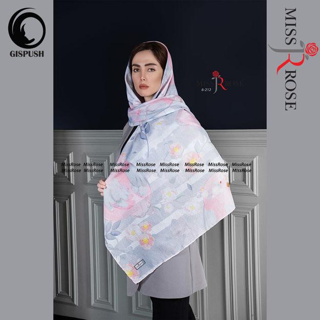 روسری نخی طوسی صورتی گلاره برند میس رز در گیسپوش
