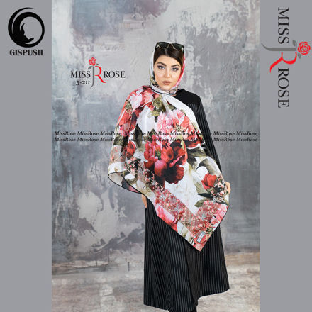 روسری نخی گل رز درشت قرمز صورتی نقشینه برند میسرز در گیسپوش