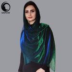 شال مجلسی پلیسه لمه آبی سبز پر کلاغی شهرزاد گیسپوش