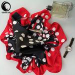 روسری نخی مشکی قرمز قواره کوچک  گیسپوش